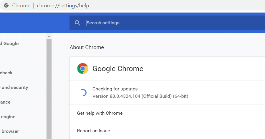 chrome://settings/help