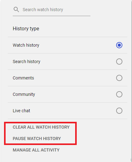 clear watch history